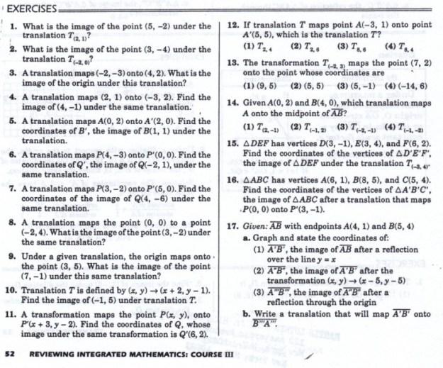 Geometry Translations Worksheets #1