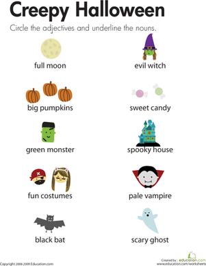Halloween Vocabulary Worksheets #3