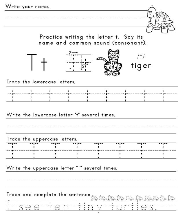 Letter T Tracing Worksheets #2
