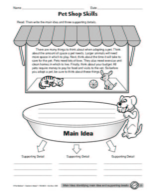 Main Idea And Detail Worksheets #4