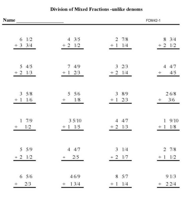 Math Fractions Worksheets #4