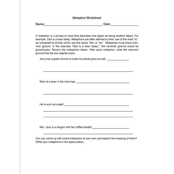 Metaphor Worksheets Elementary #2