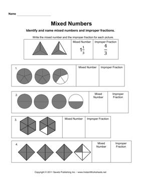 Mixed Number And Improper Fraction Worksheets #1