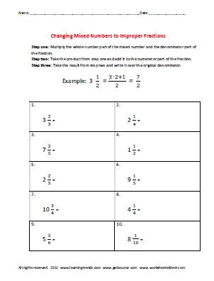 Mixed Number And Improper Fraction Worksheets #5