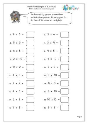 Multiplication Worksheets 3 #3