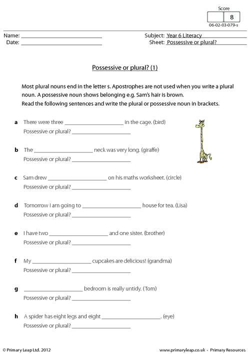 Plural Possessive Worksheets #1