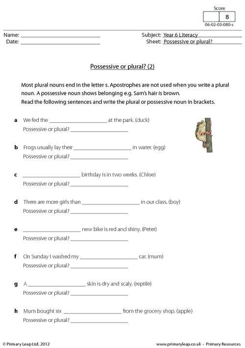Plural Possessive Worksheets #2