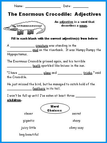 Printable Adjective Worksheets #2