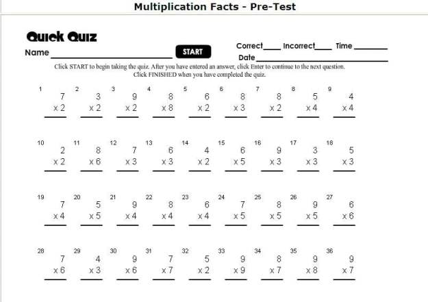 Printable Multiplication Problems Worksheets #1