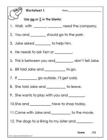 Pronoun I And Me Worksheets #1
