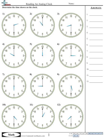 Reading Clock Worksheets #4