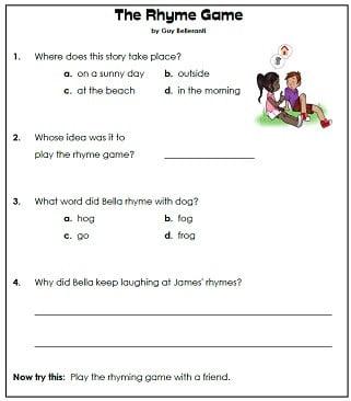 Reading Comprehension 1st Grade Worksheets #1