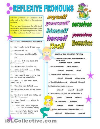 Reflexive Pronouns Worksheets #1