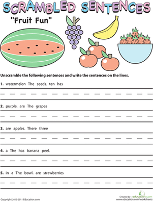 Scrambled Sentences Worksheets #3