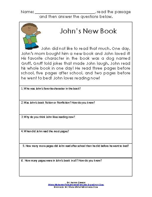 Short Comprehension Worksheets #1