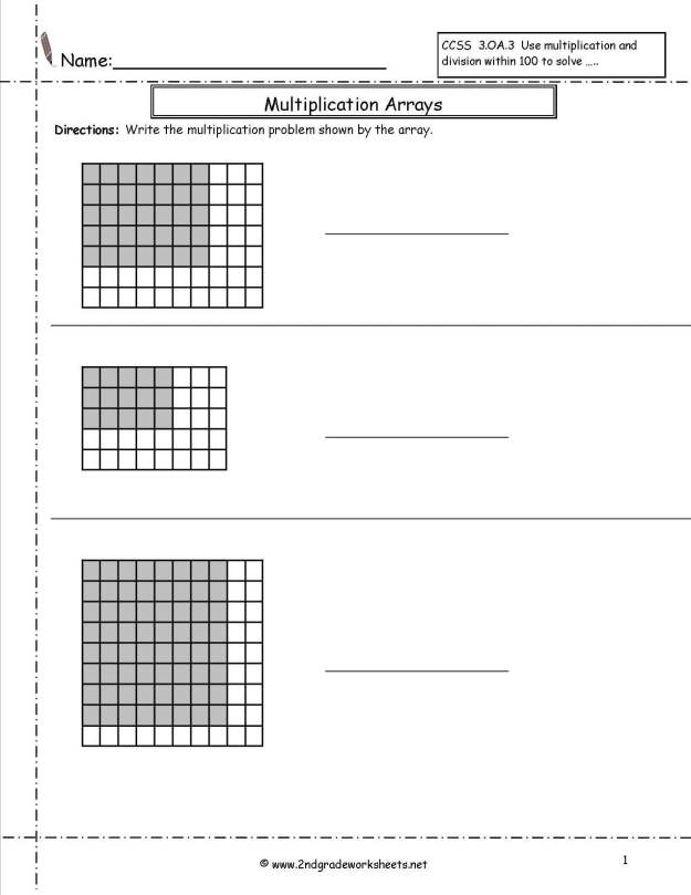 Multiplication By Arrays Worksheets