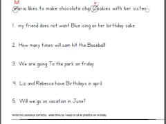 6 sentence punctuation worksheets 1st grade