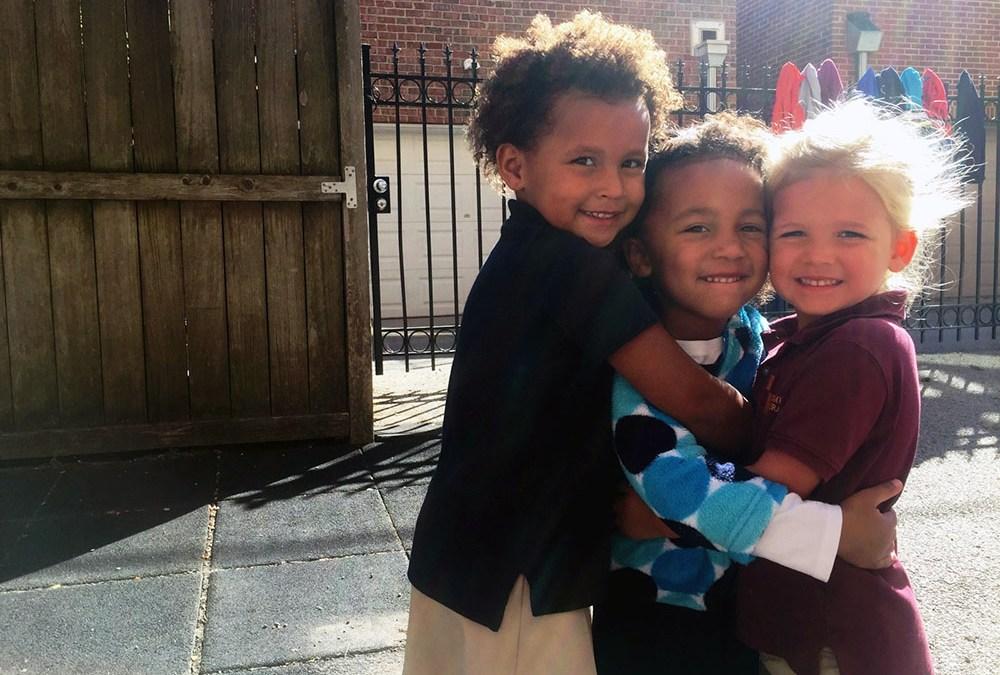 Teaching Forgiveness - Students hugging