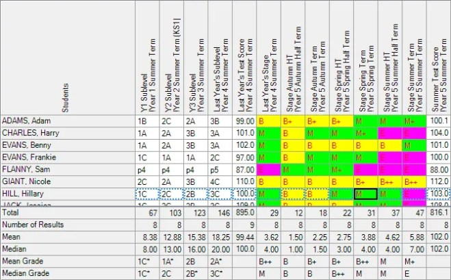 Assessment Without Levels system screenshot SIMS