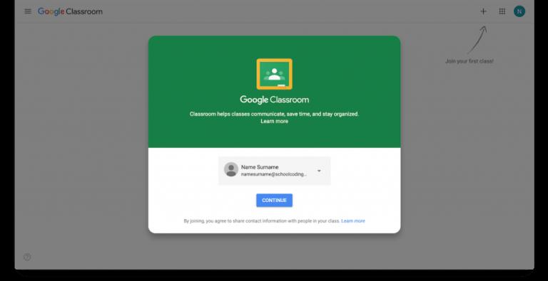SchoolCoding Google Classroom New Student Enrollment
