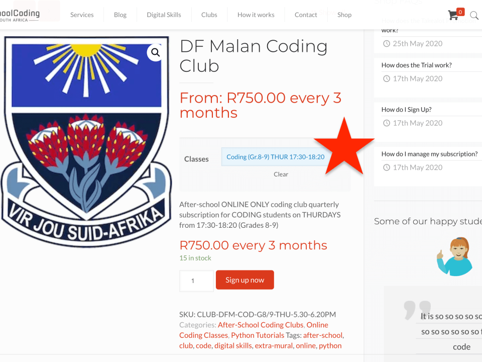 DF Malan SchoolCoding Club SOLD OUT