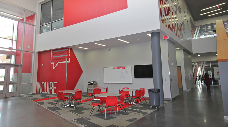 The Dan Dipert Career + Technical Center In Arlington, Texas, Introduces  Geometric Design And School Colors At The Main Entrance And Continues Them  ...