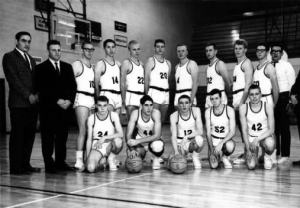 (left to right back) Manager Hans Melroth, Head Coach Marvin Gans, Dave Noris (10), Gerald Kisabeth (14), Bob Eckonen (22), John Breckenridge (20), Dick Birzak (4), Greg Rice (32), Roger Grover (34), Keith Watson (50), Manager Rick Smith and Assistant Coach Wilson Munn (not pictured) made up the 1964 to 1965 mens basketball team at Schoolcraft.