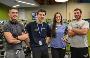 (from left to right) Chad Maura, Frank Suchy, Maggie Leins and Bradley Belager activtely participate at Fit Club meetings. PHOTO BY MIRANDA MALEC|STAFF PHOTOGRAPHER