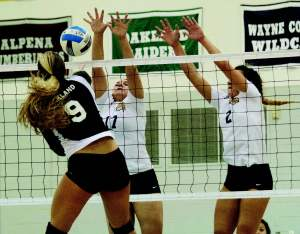 Sophomore Nicole Sprinkles (17) and Freshman Erin Parrinello (2) jump up to attempt to block an Oakland spike on Oct. 6.