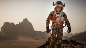 """Matt Damon stars in """"The Martian"""" as Mark Watney who was left behind on a mission to Mars.  wrongreel.com"""