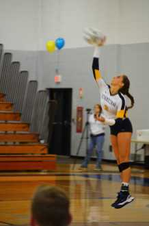Sophomore Allison Lynn serves the ball to Macomb Monarchs, to win the point.