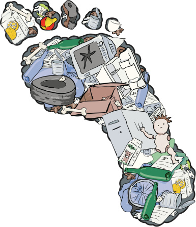 """An illustration of a """"carbon footprint"""" with images of trash within the outline of the footprint"""