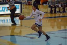 Megan Sandiha, #24, races across the court.