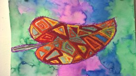Schooled in Love: Oil Pastel Resist Leaves