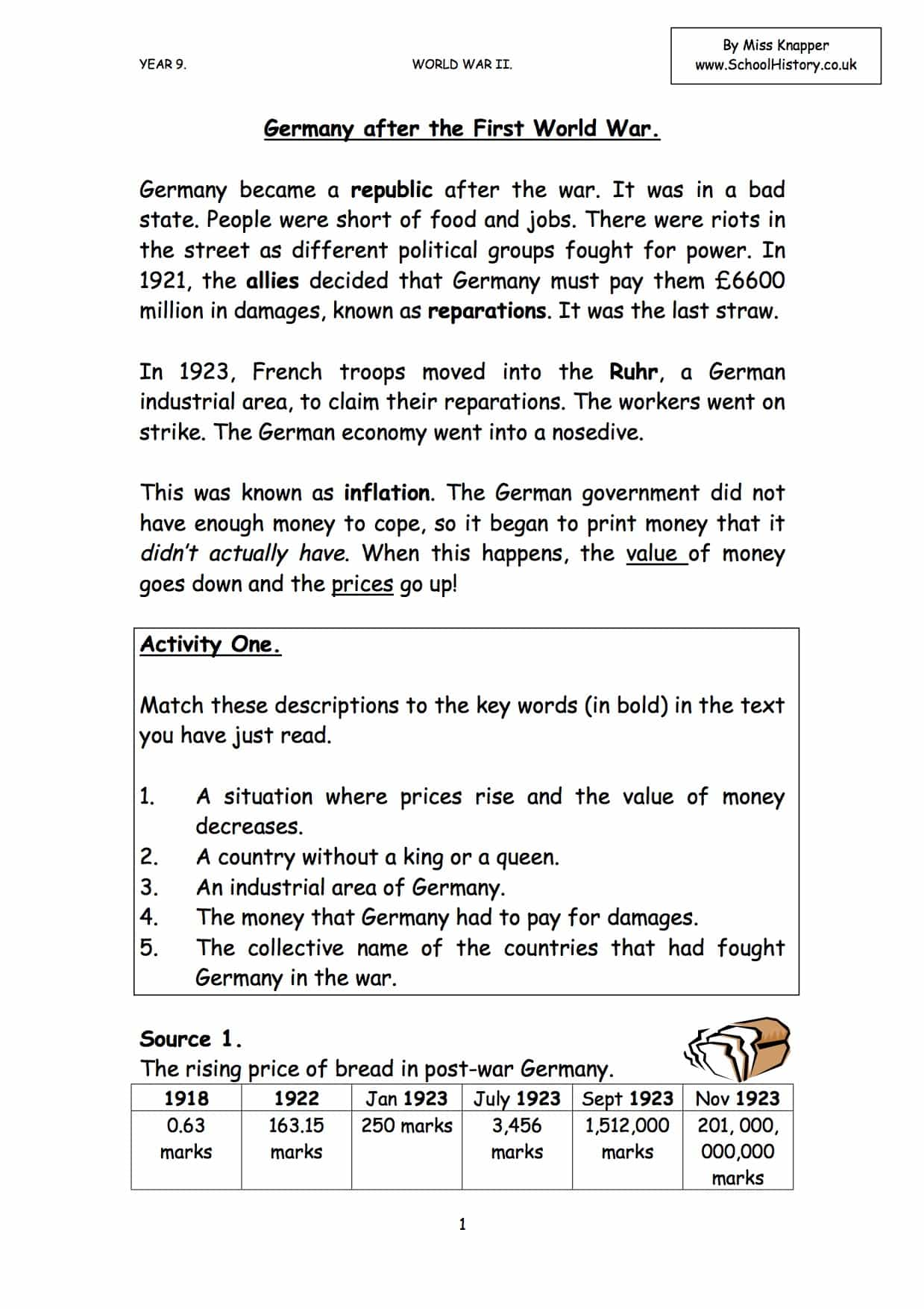 Germany After Ww1 Worksheet