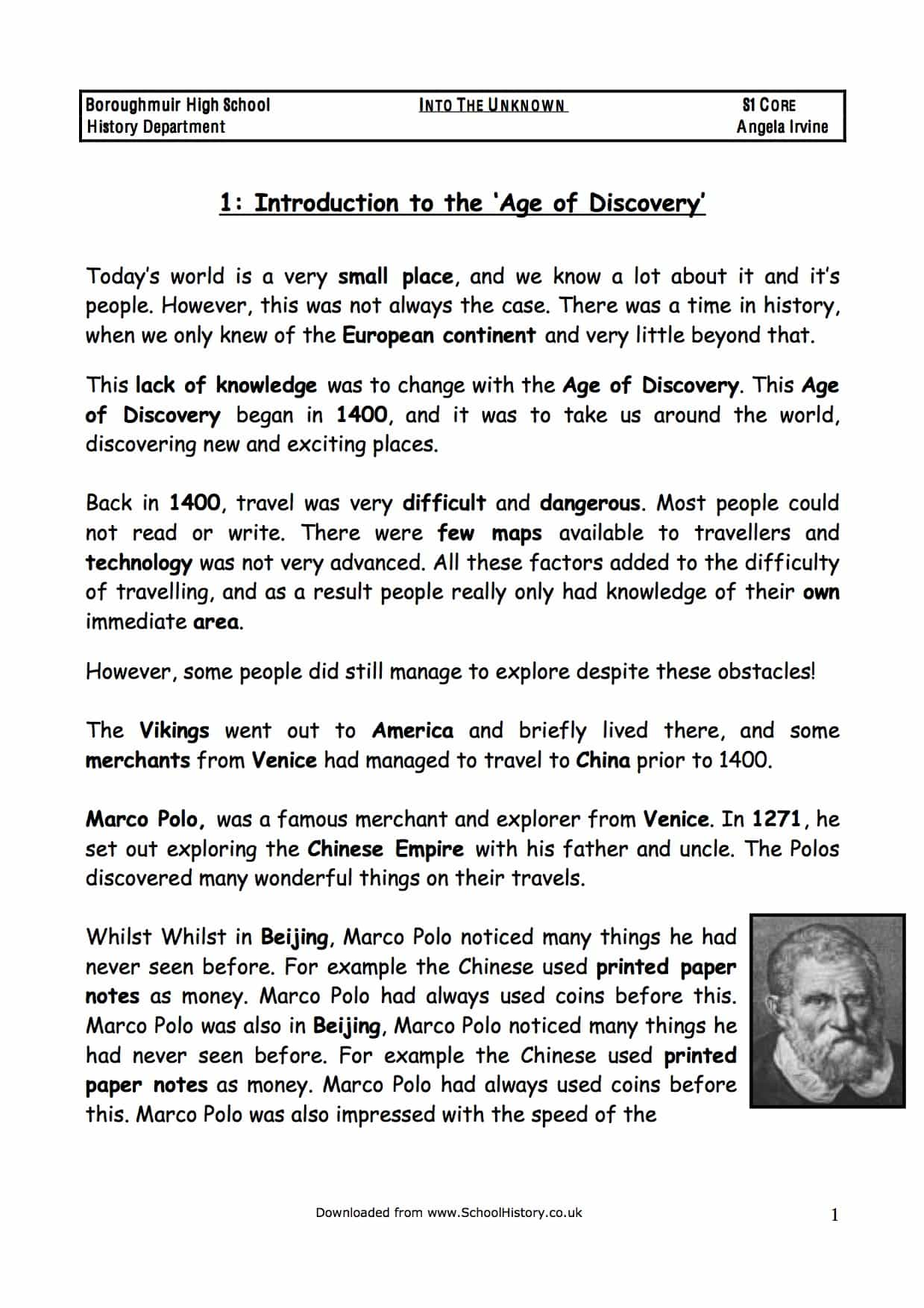The Age Of Discovery Amp Exploration Facts Amp Information Worksheet