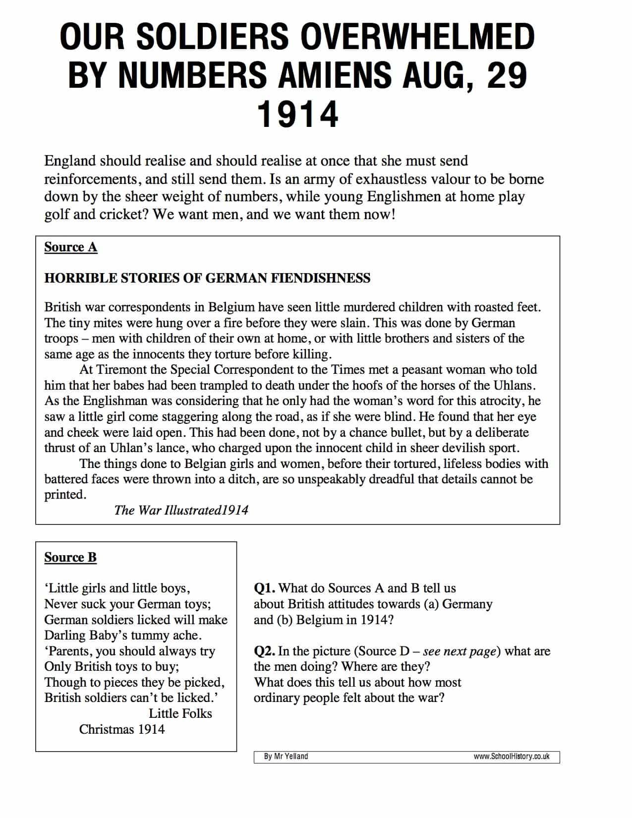 Anti German Propaganda Worksheet