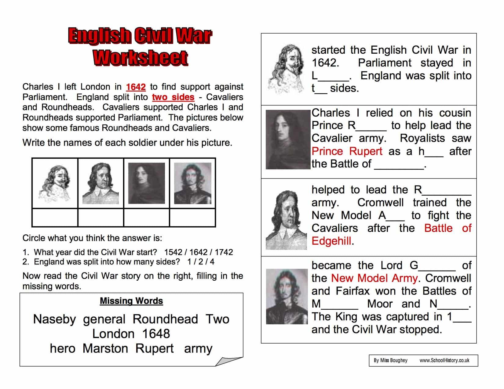 English Civil War Background Worksheet