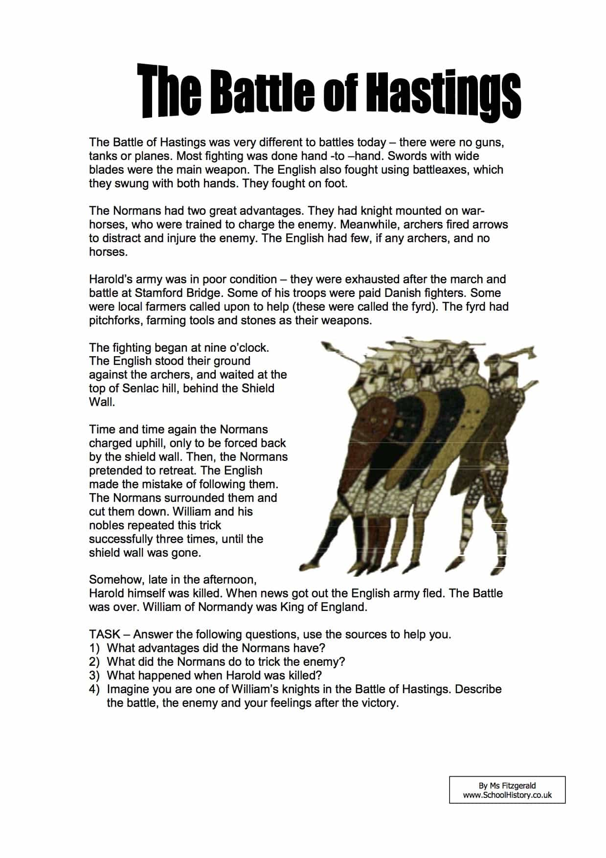 The Battle Of Hastings Facts Amp Information Worksheet