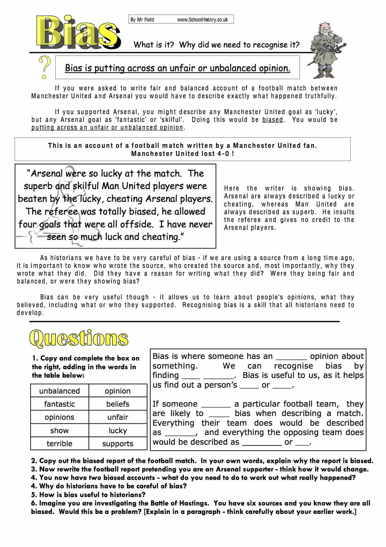 Understanding Bias Study Worksheet | Free PDF Download