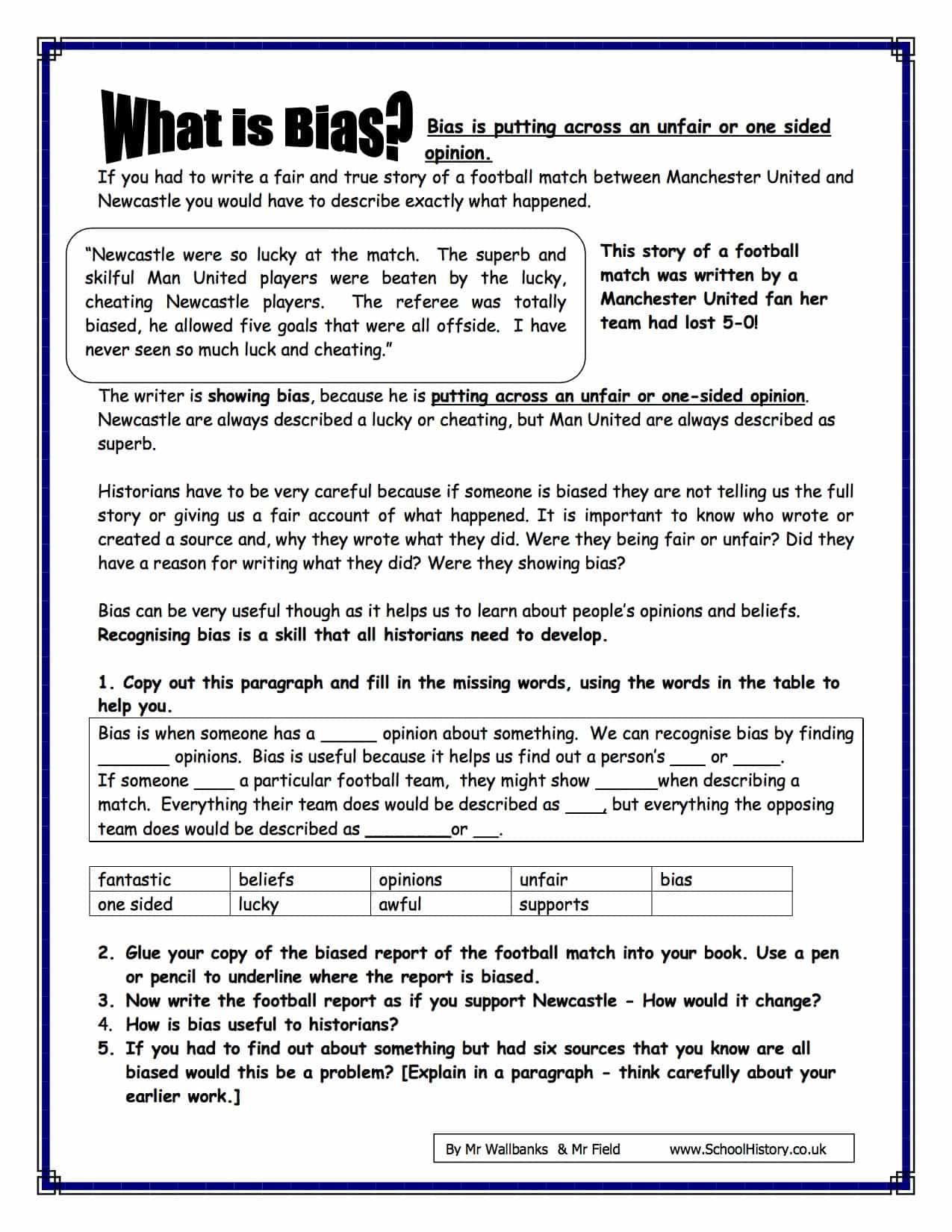 What Is Bias Worksheet