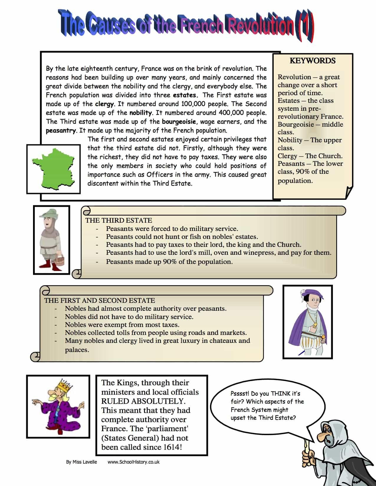 Causes Of The French Revolution Homework Worksheet