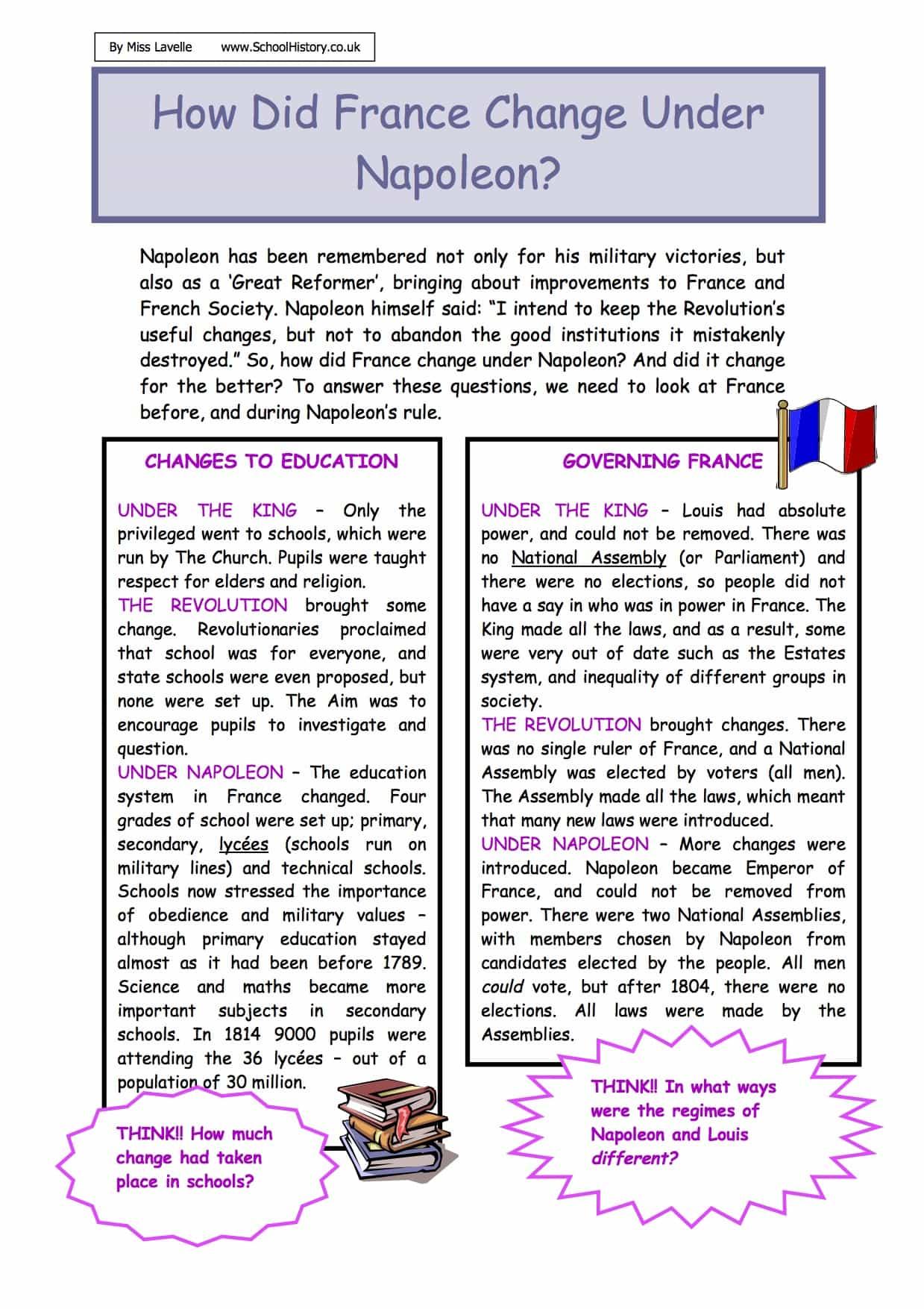 How Did France Change Under Napoleon Worksheet