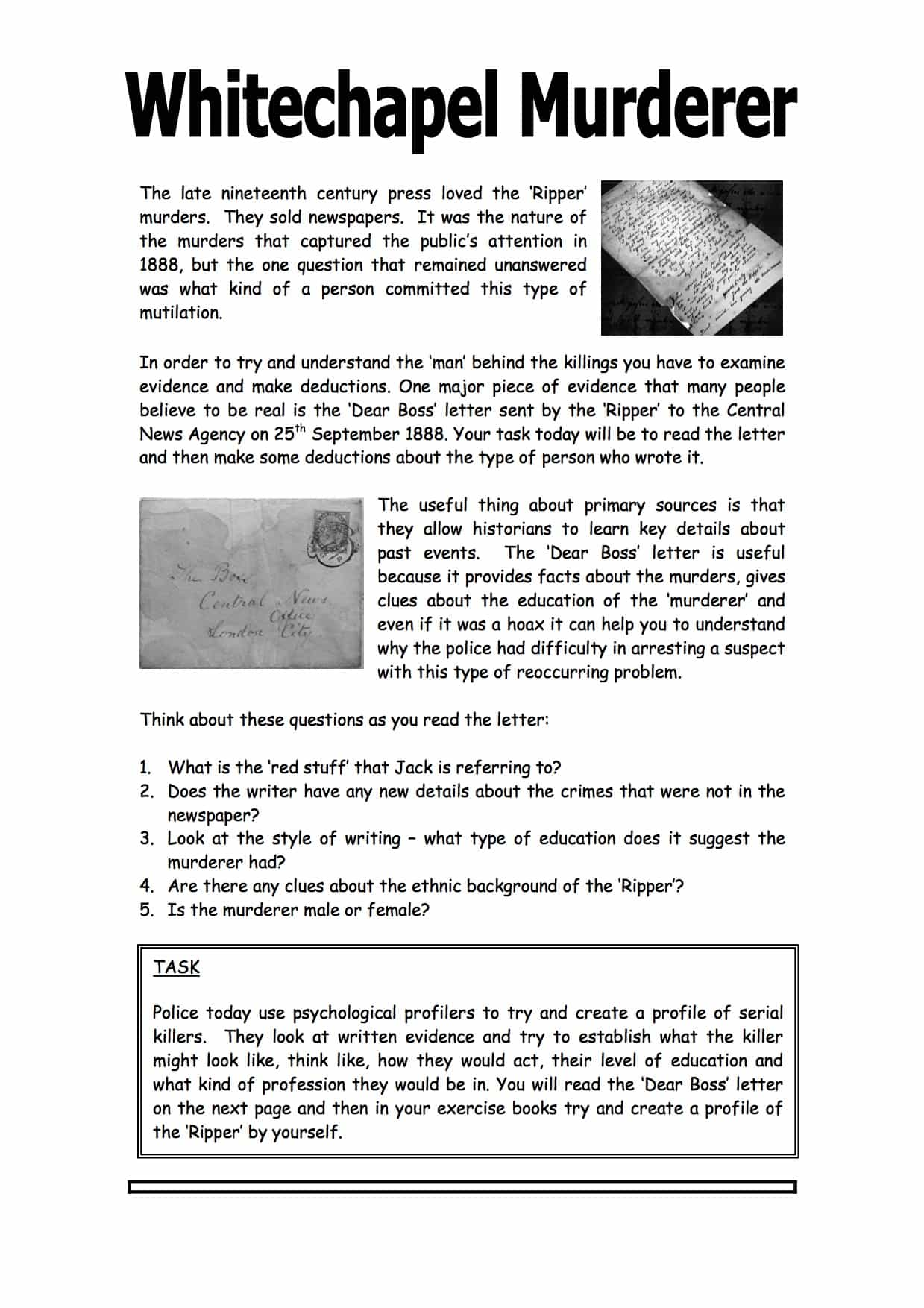 Whitechapel Murder Character Profile Activity Worksheet
