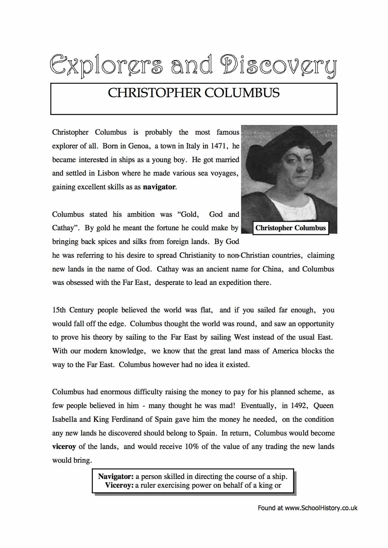 Christopher Columbus Facts Amp Information Worksheet