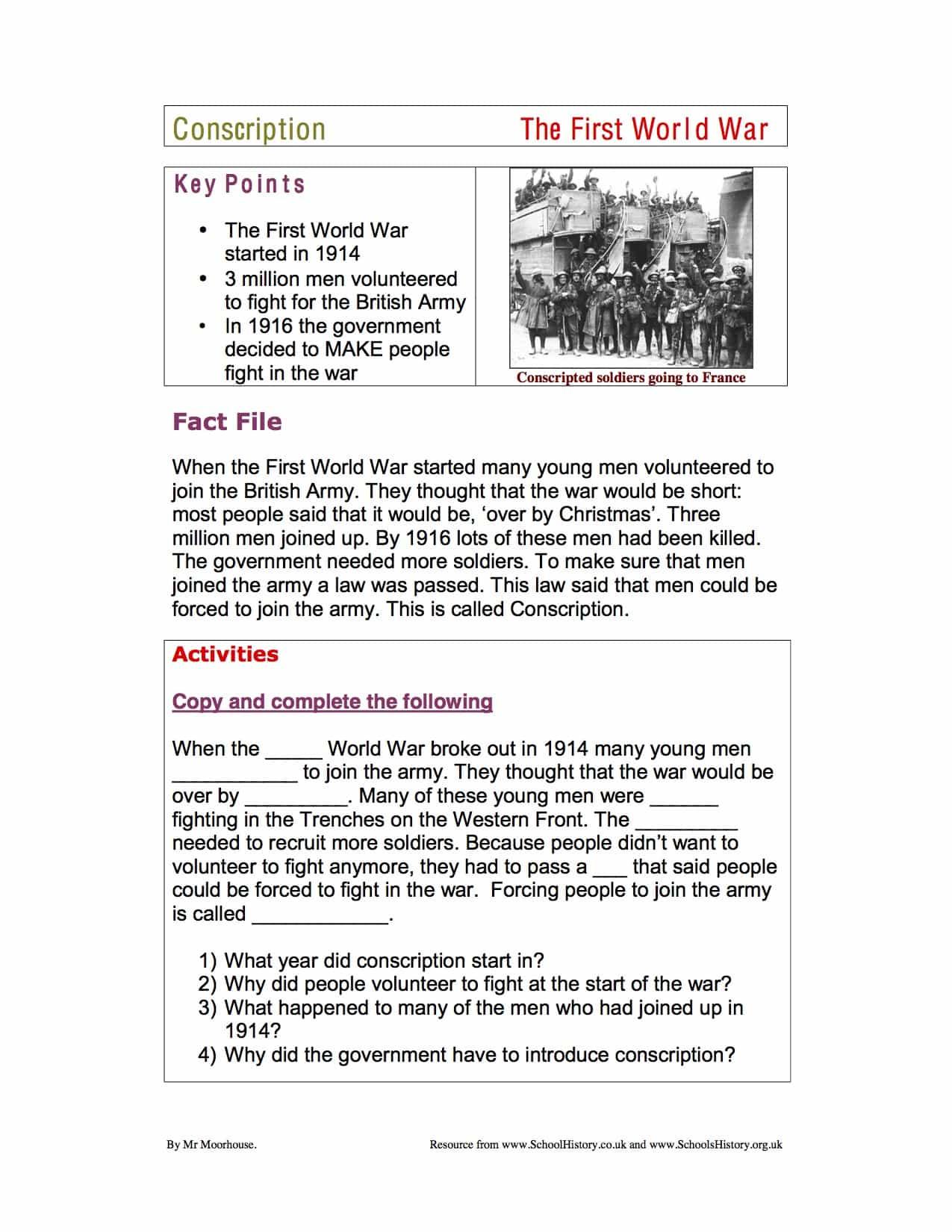 World War 1 Conscription Lower Facts