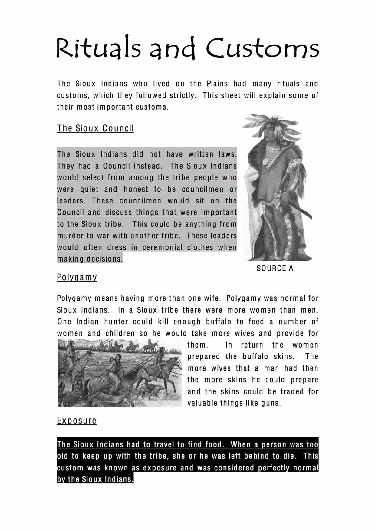 Native American Rituals And Customs Worksheet