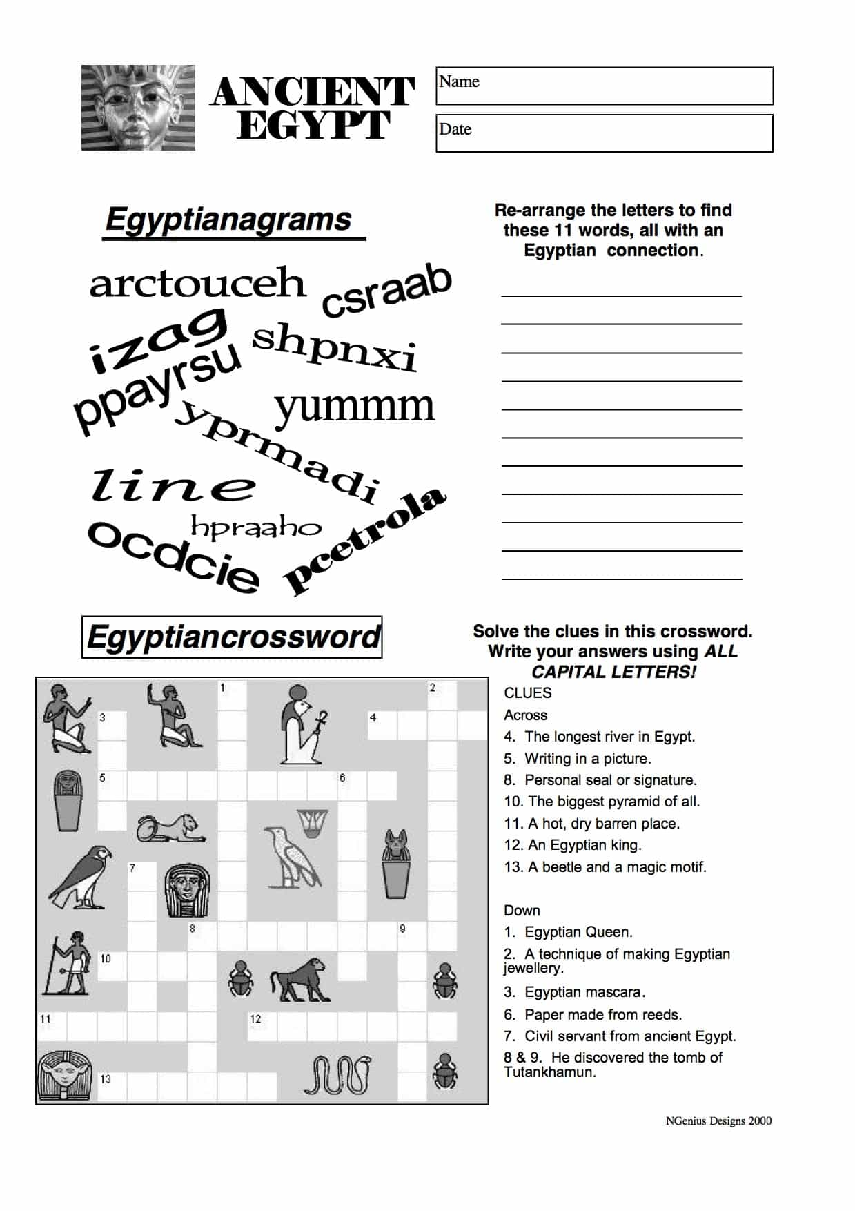 Ancient Egypt Anagram and Crossword - Free PDF Download