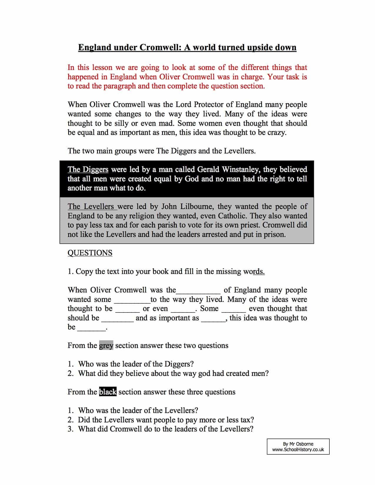 Free History Worksheets