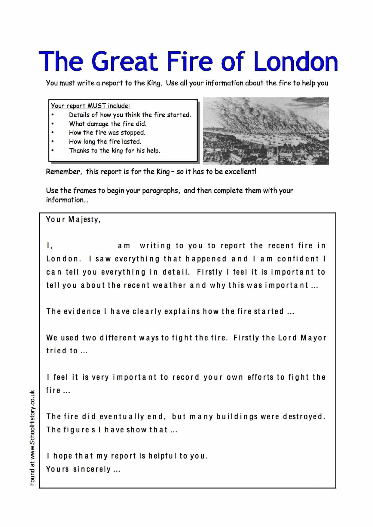 Year 1 Worksheets Uk Activity Fire Great London Writing